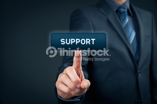 On-line support concept - man click on virtual button support.