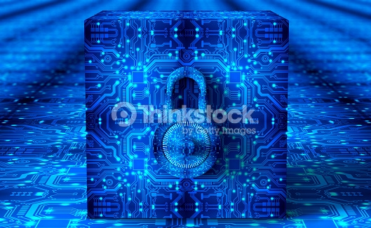 digital safety concept padlock in electronic environment.